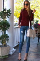 blue Bershka jeans - ruby red knitted Chicwish sweater - ivory BangGood bag