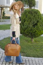 Beige-fur-sheinside-coat-tan-floppy-hat-milasorta-hat