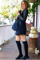 navy BangGood coat - blue Tommy Hilfiger bag - black Michael Kors flats