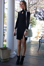 Black-lace-up-chicwish-boots-black-knitted-banggood-dress-silver-dkny-bag