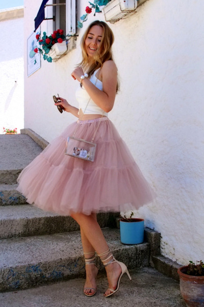 light pink tutu Chicwish skirt - white transparent vjstyle bag