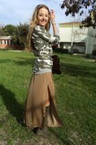 beige maxi skirt Zara skirt - olive green suede Ataköy boots
