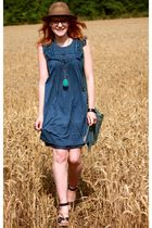 blue Naf Naf dress - blue Osmose shoes - blue Naf Naf bag