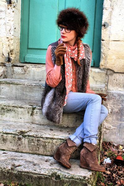 brown Zara boots - charcoal gray Cheap Monday jeans - brown H&M hat - coral Zara