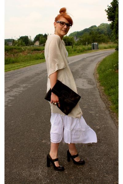 Kookai cardigan - Naf Naf dress - vintage purse
