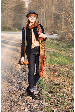 Zara coat - vintage scarf - Zara bag - H&M wedges