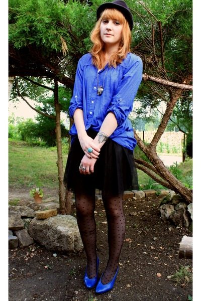 blue vintage shoes - blue Zara shirt - blue vintage accessories