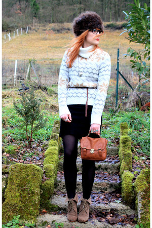Zara boots - Kookai dress - H&M hat - vintage sweater