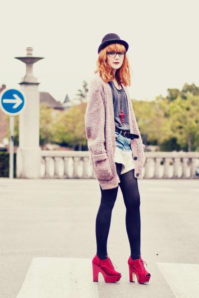 romwe shorts - asos boots - asos heels - asos cardigan - romwe necklace