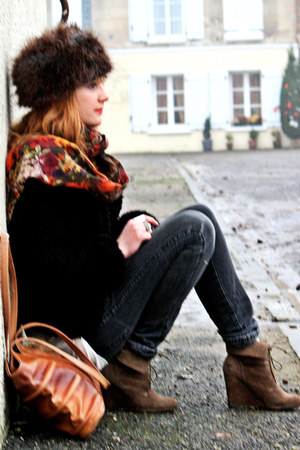 H&amp;M hat - Zara boots - Cheap Monday jeans - vintage coat - vintage bag
