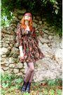 Orange-h-m-dress-vintage-boots