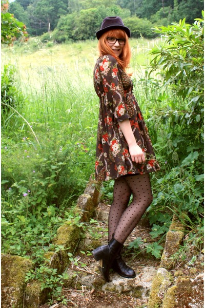orange H&amp;M dress - vintage boots