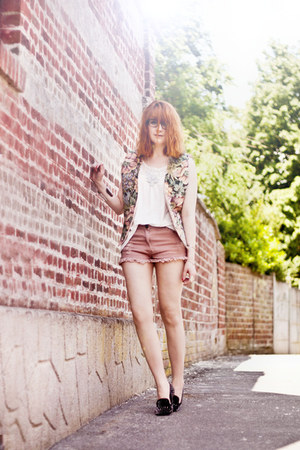 scrappy romwe shorts - vintage Shoppalu jacket - romwe flats