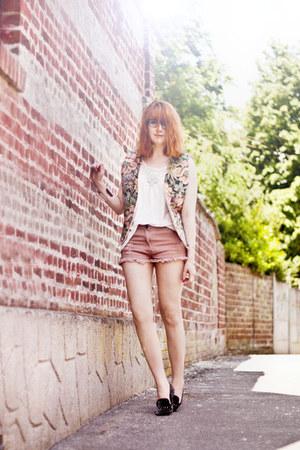 scrappy romwe shorts - vintage Shoppalu jacket - romwe flats