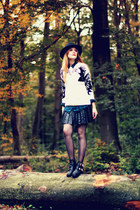 choiescom boots - choiescom hat - eagle awwdore sweater - romwe skirt