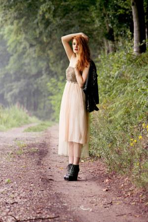 stylishplusCom dress - faux leather Romwecom jacket - Romwecom heels
