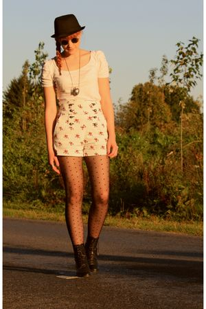 H&M top - vintage boots - H&M tights - Zara shorts