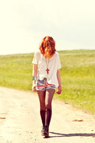 romwe tights - Dr Martens boots - union jack Chicwish shorts - romwe necklace