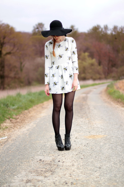 romwe shoes - honey print OASAP dress - romwe hat - zeroUV sunglasses