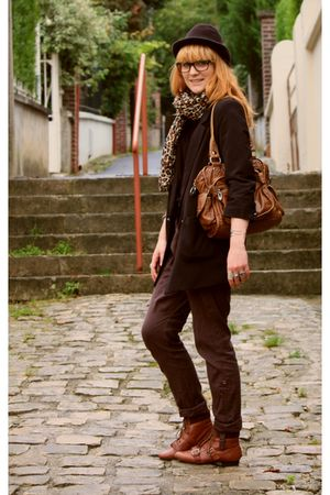 H&M scarf - new look boots - H&M jacket - Naf Naf purse - La Redoute pants