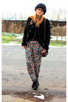 Zara pants - vintage coat - H&M wedges - H&M shirt - vintage bag