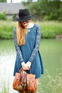 Blue-chicwish-dress-black-choies-hat-camel-persunmall-blazer