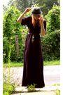 Purple-naf-naf-dress-brown-tropeziennes-shoes