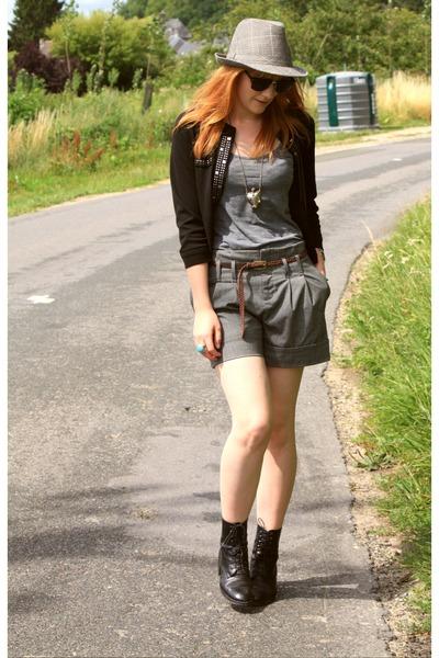 black vintage boots - black Cache Cache jacket - gray Pimkie shorts