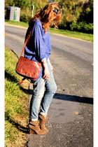 Zara shirt - Zara boots - Pimkie jeans - vintage purse - H&M accessories