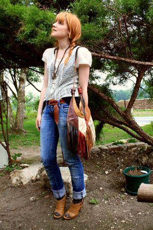 beige Kookai t-shirt - black H&M t-shirt - Zara used jeans - Zara accessories