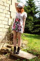 H&M dress - vintage boots - hat