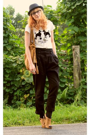 vintage pants - Zara bag - Jules hat - H&M t-shirt