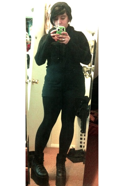black Nasty Gal shoes - black Forever 21 romper - black Hot Topic cardigan