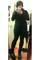 black Nasty Gal shoes - black Forever 21 romper - black Hot Topic cardigan