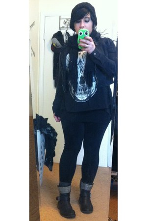black American Eagle boots - black Forever 21 jacket - black Hot Topic shirt