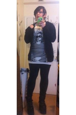black Nasty Gal shoes - ivory H&M shirt - black Forever 21 cardigan