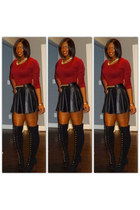 skirt - black and gold boots - gold accessories