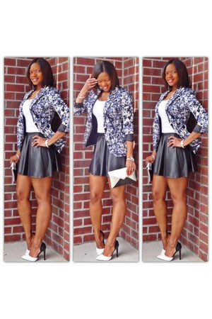 blue floral blazer - faux leather skirt - black and white pumps