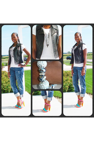 leather vest - boyfriend jeans - silver accessories - color block sandals