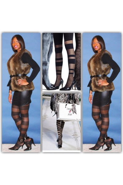 striped tights - fur vest