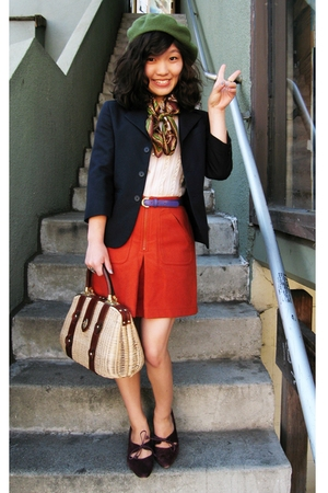 orange Thrifted Gap skirt - purple vintage Kenneth Cole shoes