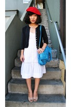 blue Polo Ralph Lauren sweater - beige vintage shoes - white H&M dress