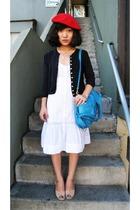 blue Polo Ralph Lauren sweater - beige vintage shoes - white H&M dress
