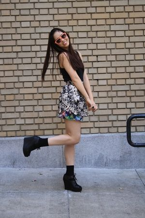 black Urban Outfitters top - H&amp;M skirt - black Jeffrey Campbell shoes