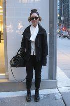 black Zara pants - white vintage valentino top - black doc martens