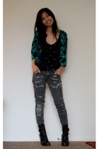 vintage jacket - Marley top - Blank Denim jeans - Guess boots