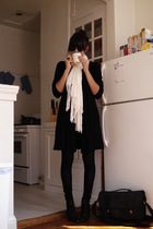 black H&M sweater - white H&M scarf - black UO shorts - white H&M top