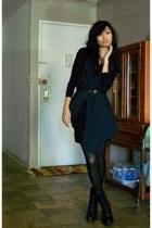blue Zara vest - black Guess boots - black bodystocking stockings