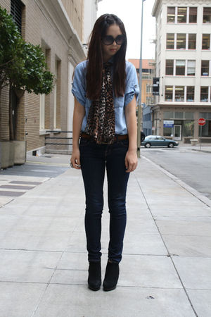 black H&M shoes - J Brand jeans - denim top Zara