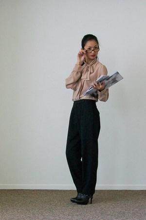 beige vintage blouse - black Colin Stuart boots - black vintage pants